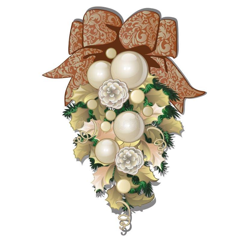 Kerstmisdecoratie in de vorm van ballen en snuisterijen van het bundel de de beige die glas op witte achtergrond worden geïsoleer vector illustratie
