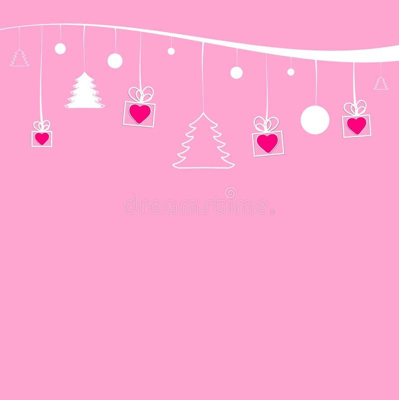Kerstmisdecoratie die op een wit lint hangen stock illustratie