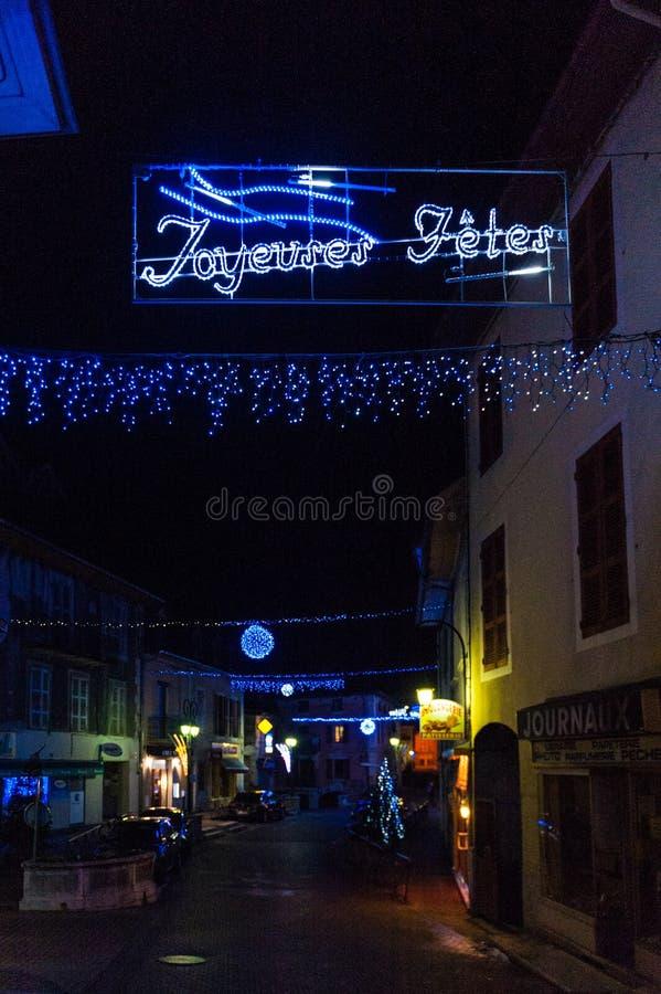 Kerstmisdecoratie in een Franse Stad stock foto
