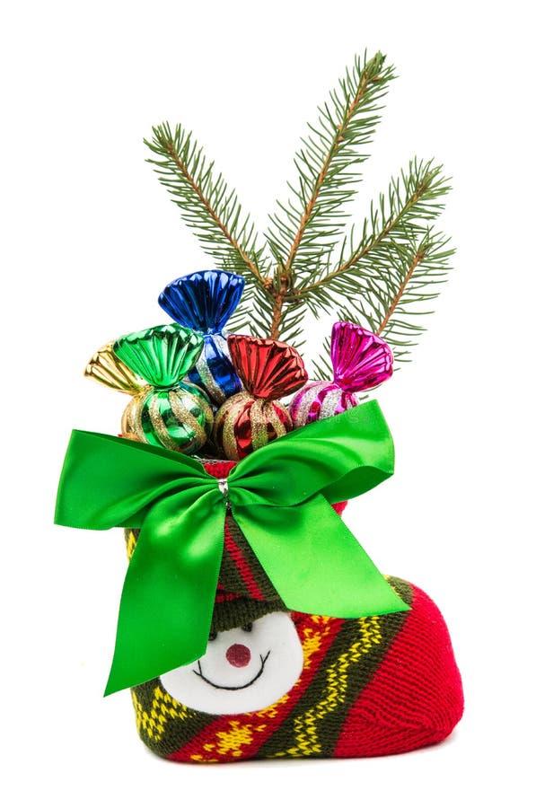 Kerstmisdecoratie in een sok royalty-vrije stock foto