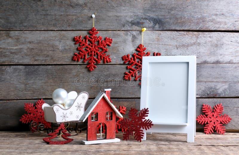 In Kerstmisdecoratie en fotokader royalty-vrije stock fotografie