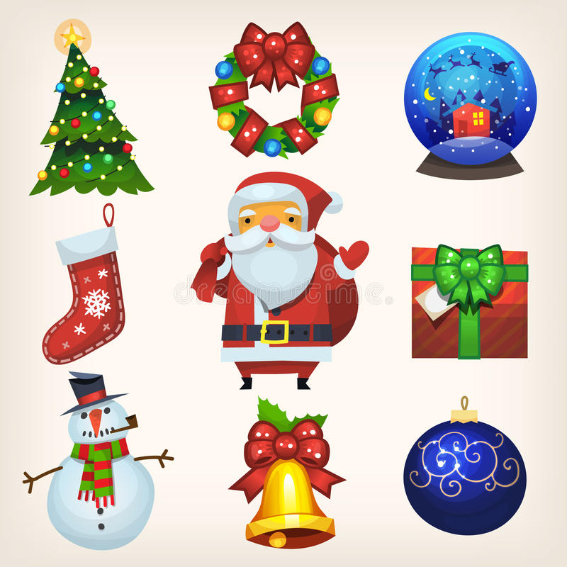 Kerstmisdecoratie en pictogrammen stock illustratie