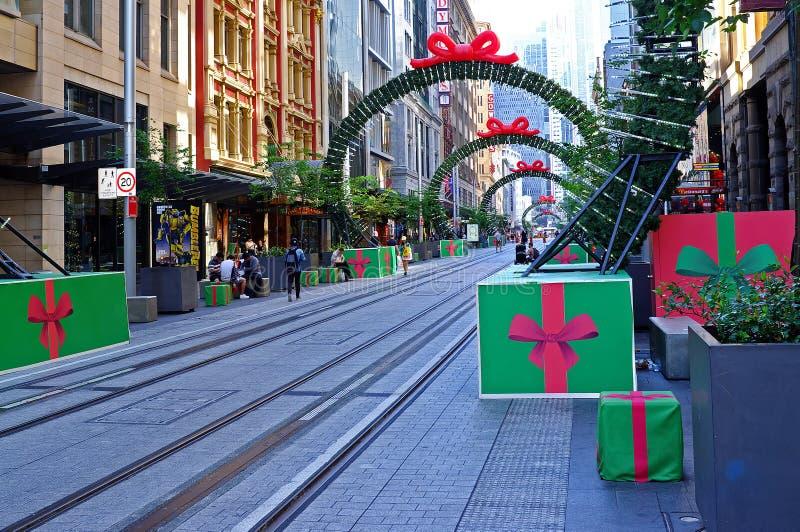 Kerstmisdecoratie, George Street, Sydney, Australië stock afbeelding