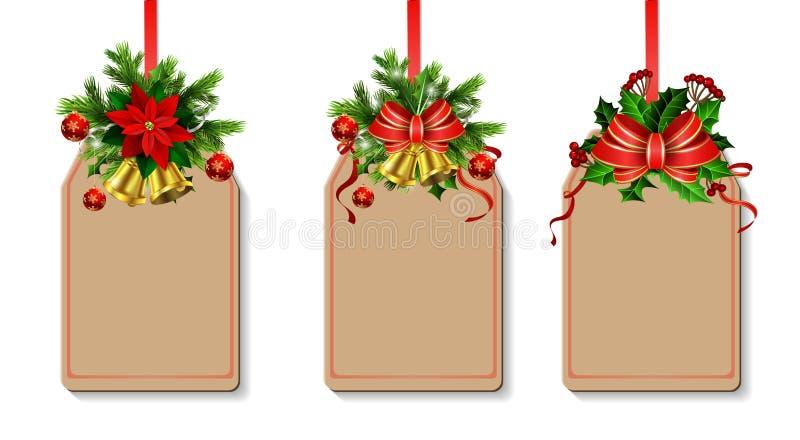 Kerstmisdecoratie met boog vector illustratie