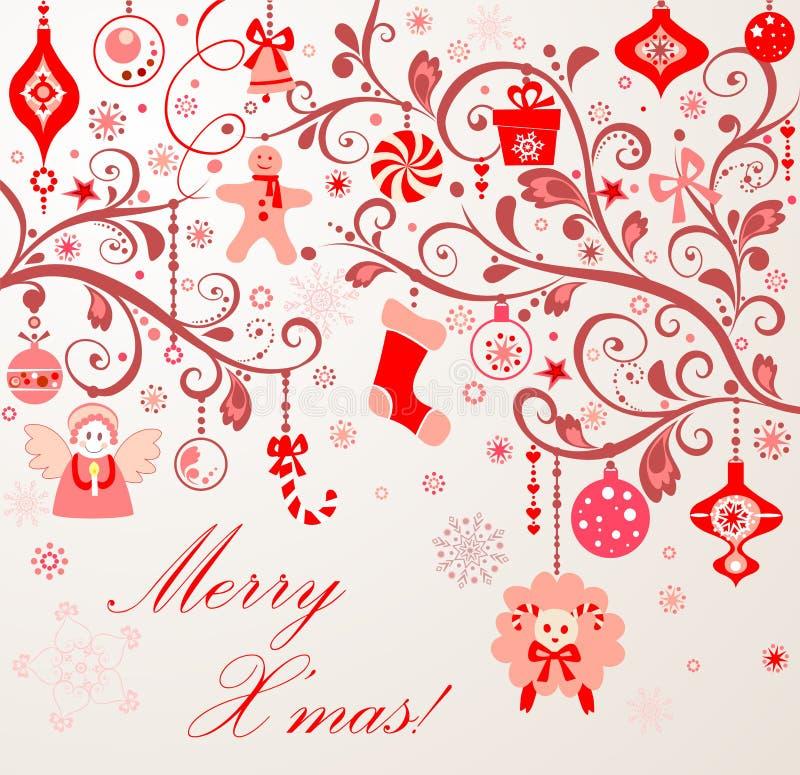 Kerstmisdecoratie met lam royalty-vrije illustratie
