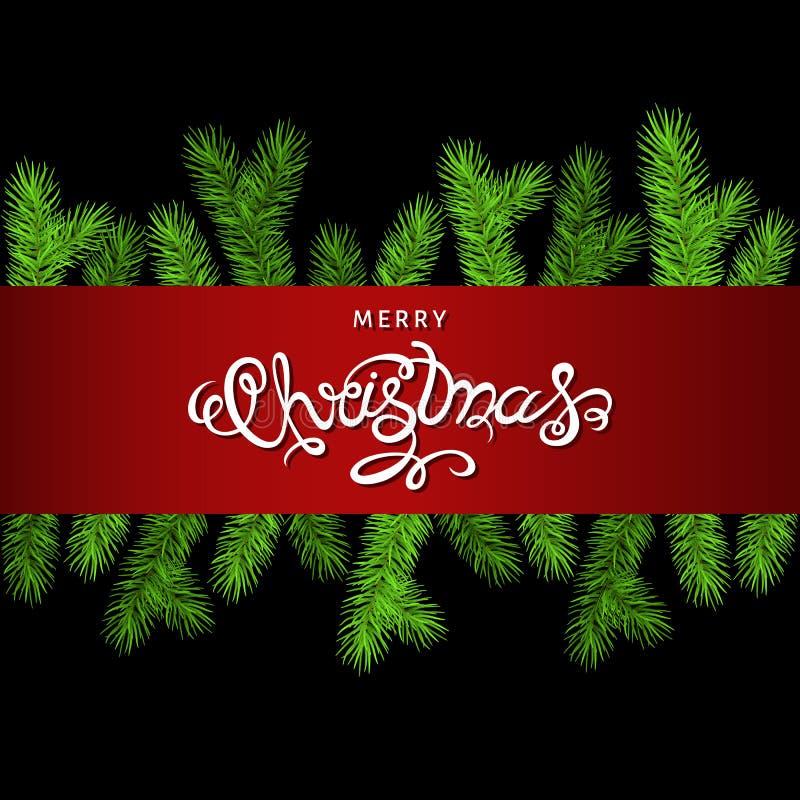 Kerstmisdecoratie met nette tak en het van letters voorzien stock illustratie