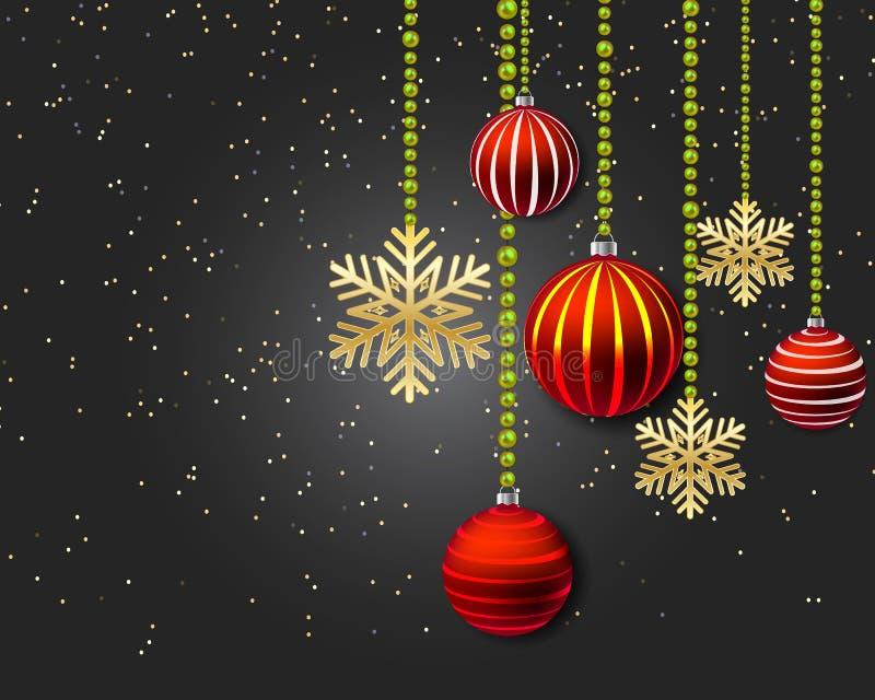 Kerstmisdecoratie met rode ballen en gouden sneeuwvlokken op een zwarte achtergrond royalty-vrije illustratie