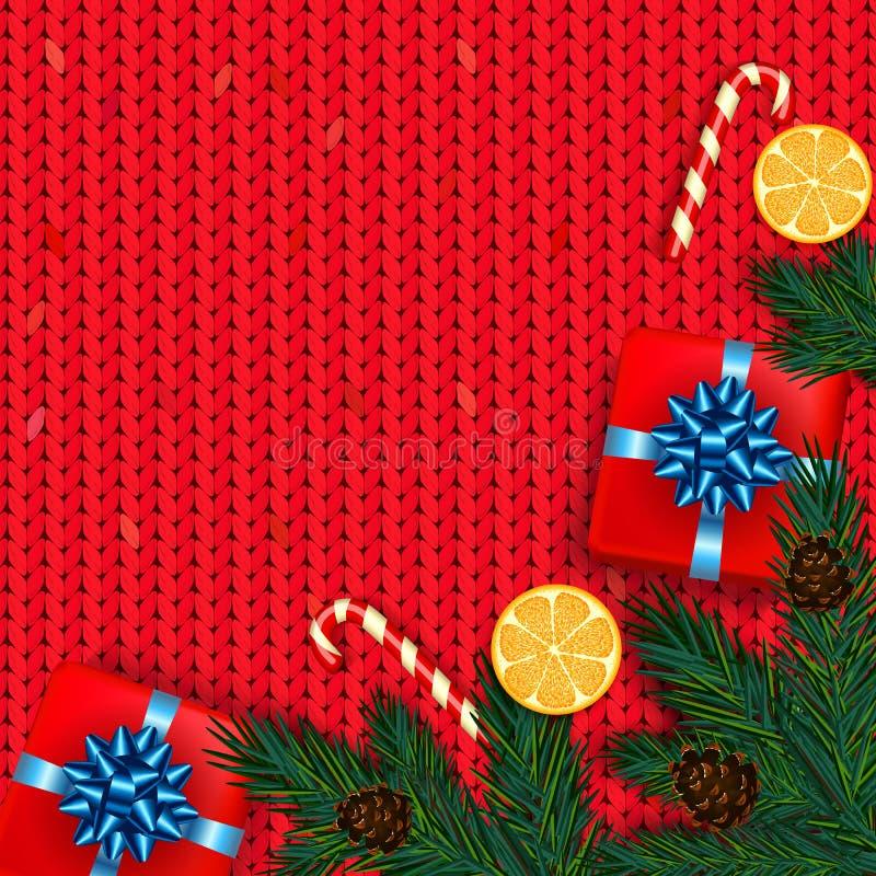 Kerstmisdecoratie met spar, gift, suikergoedriet op rode kni vector illustratie