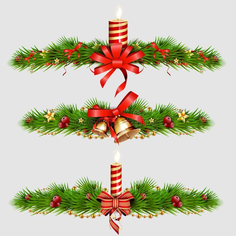Kerstmisdecoratie met spar, gouden kenwijsjeklokken Vector illustratie stock illustratie