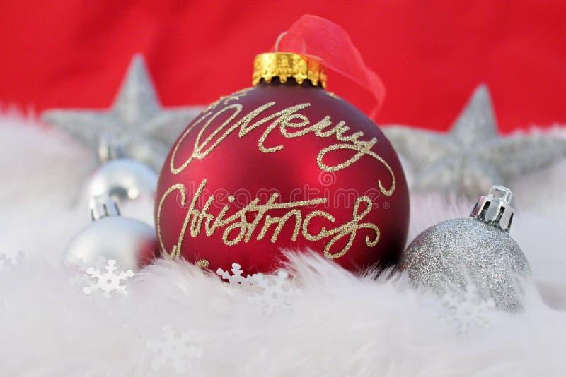 Kerstmisdecoratie met valse sneeuw royalty-vrije stock foto