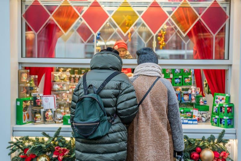 Kerstmisdecoratie in Moskou stock foto