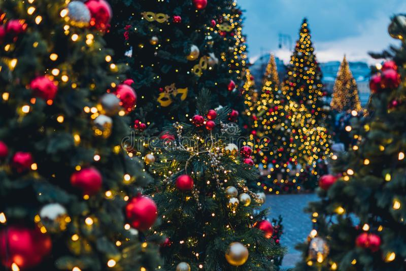 Kerstmisdecoratie in Moskou royalty-vrije stock foto's