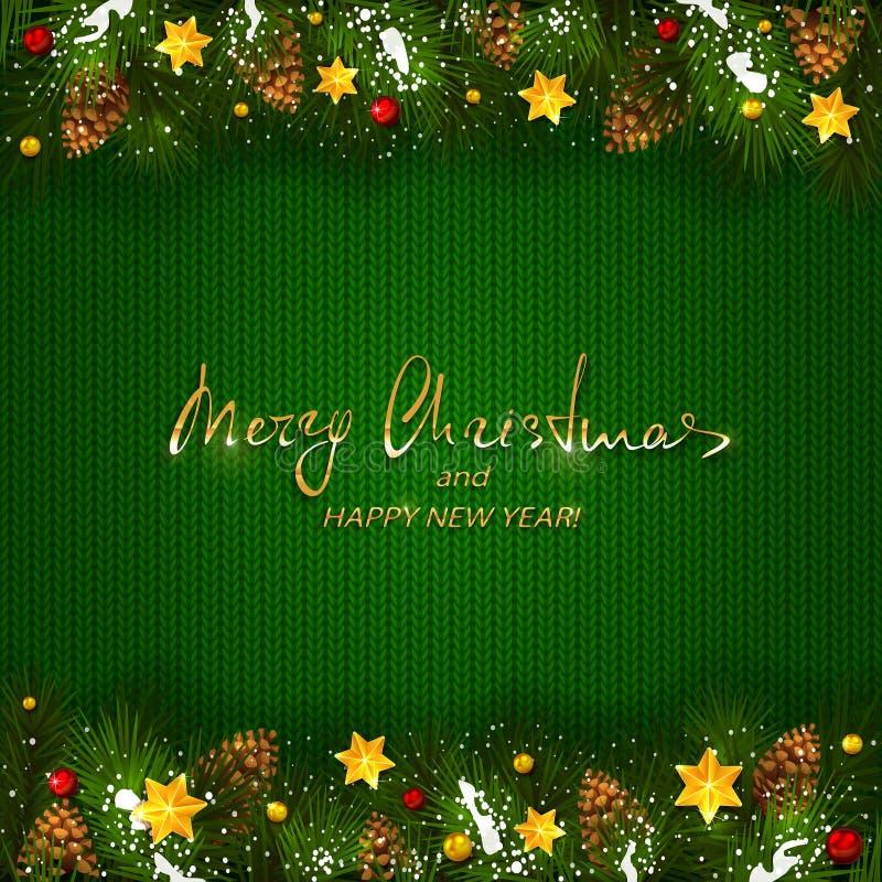 Kerstmisdecoratie op groen gebreid patroon stock illustratie