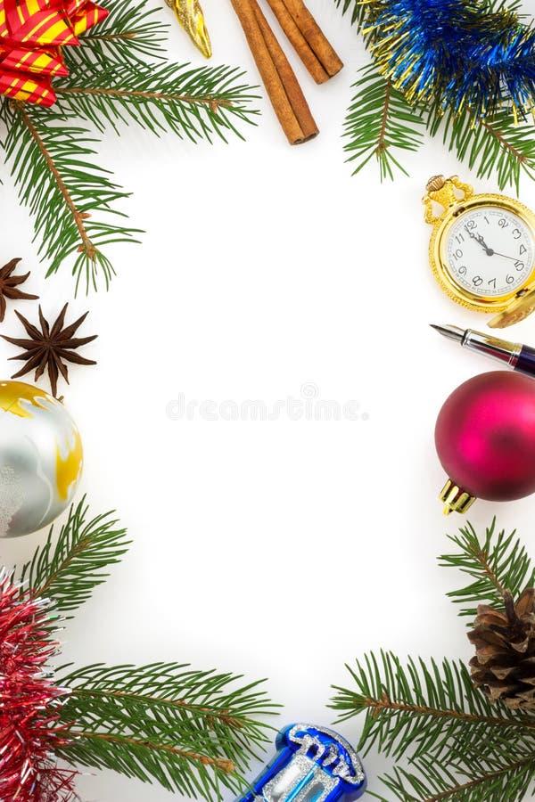 Kerstmisdecoratie op wit royalty-vrije stock afbeeldingen