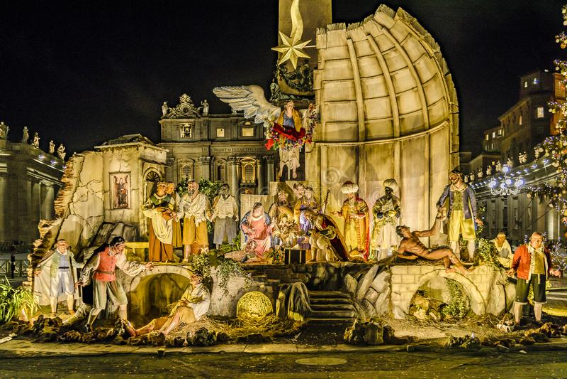 Kerstmisdecoratie, Piazza San Pietro, Rome, Italië stock afbeelding