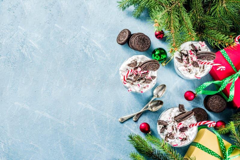 Kerstmisdessert, de kleinigheid van de pepermuntchocolade stock foto