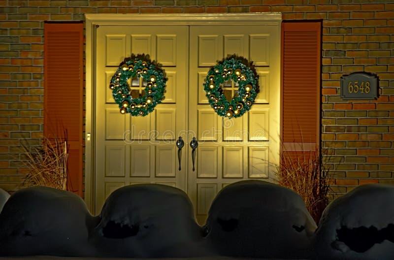 Kerstmisdeuren stock foto's