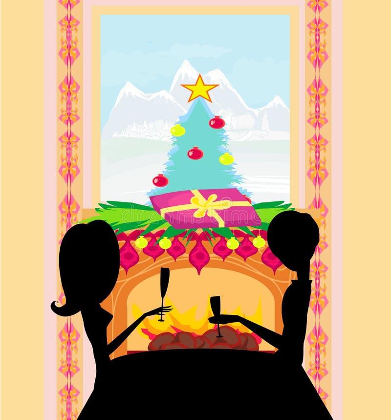 Kerstmisdiner. stock illustratie