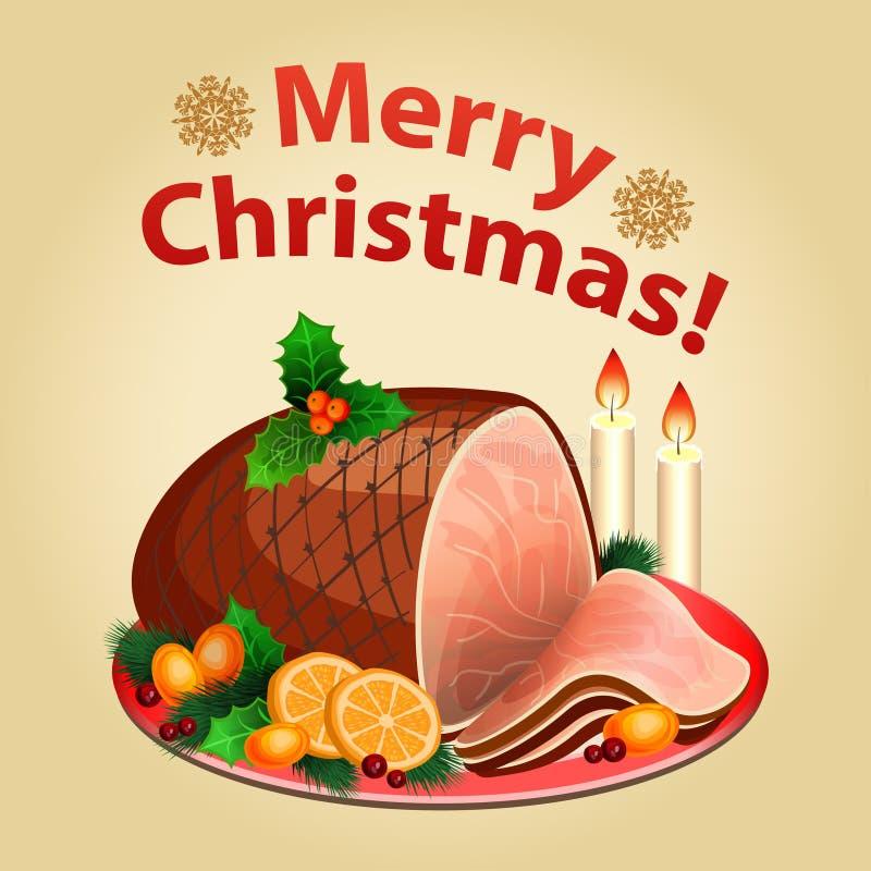 Kerstmisdiner, traditionele Kerstmis voedsel-Kerstmis ham royalty-vrije illustratie