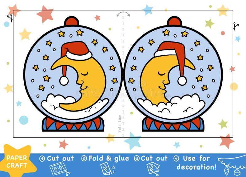 Kerstmisdocument Ambachten voor kinderen, Sneeuwbal met een halve maan vector illustratie