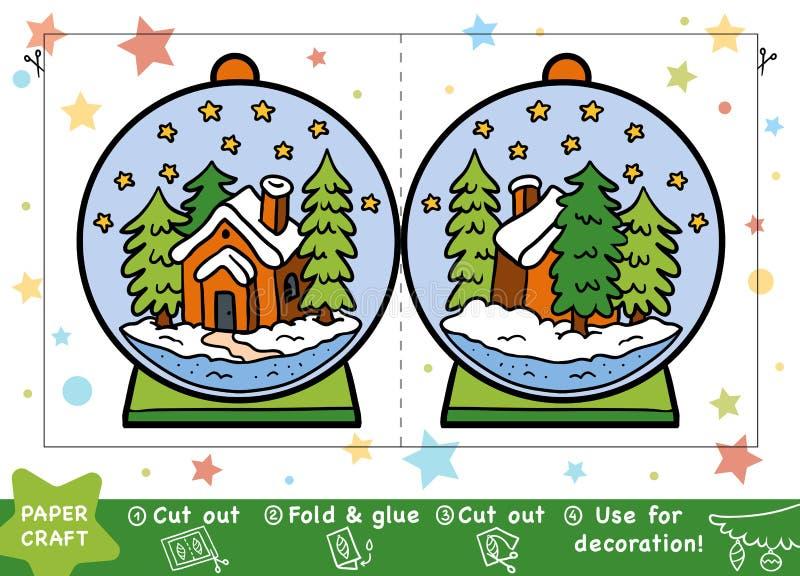 Kerstmisdocument Ambachten voor kinderen, Sneeuwbal met een huis royalty-vrije illustratie