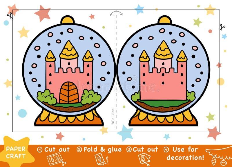 Kerstmisdocument Ambachten voor kinderen, Sneeuwbal met een kasteel vector illustratie