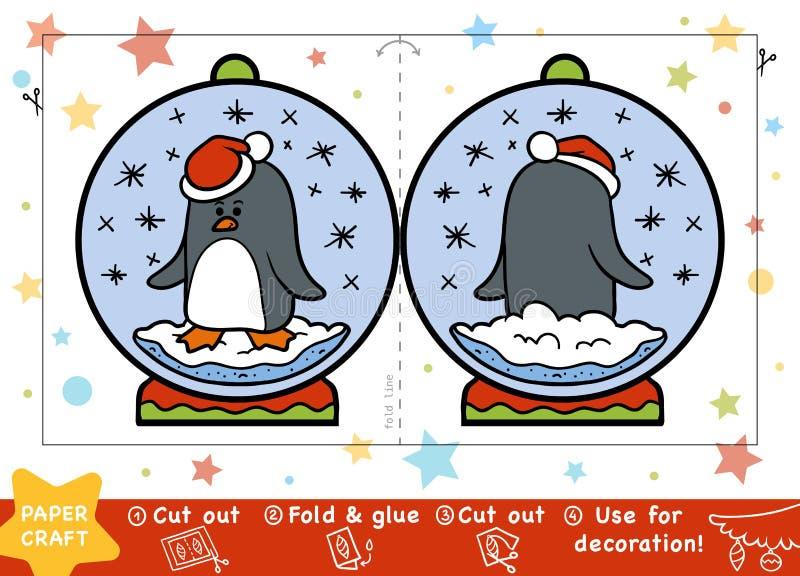 Kerstmisdocument Ambachten voor kinderen, Sneeuwbal met een pinguïn stock illustratie