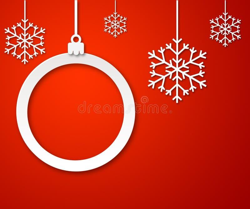 Kerstmisdocument bal op rode achtergrond 3 stock illustratie