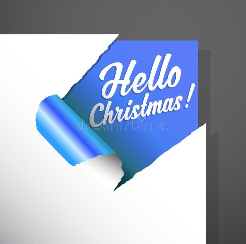 Kerstmisdocument de hoek met Hello-Kerstmistekst die wordt verwijderd brengt aan het licht royalty-vrije illustratie