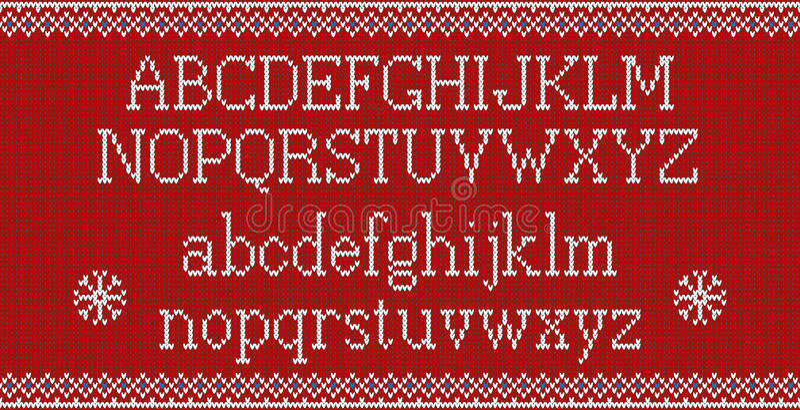 Kerstmisdoopvont Gebreid Latijns alfabet op naadloos gebreid patroon met sneeuwvlokken en spar Het noordse eerlijke eiland breien stock illustratie