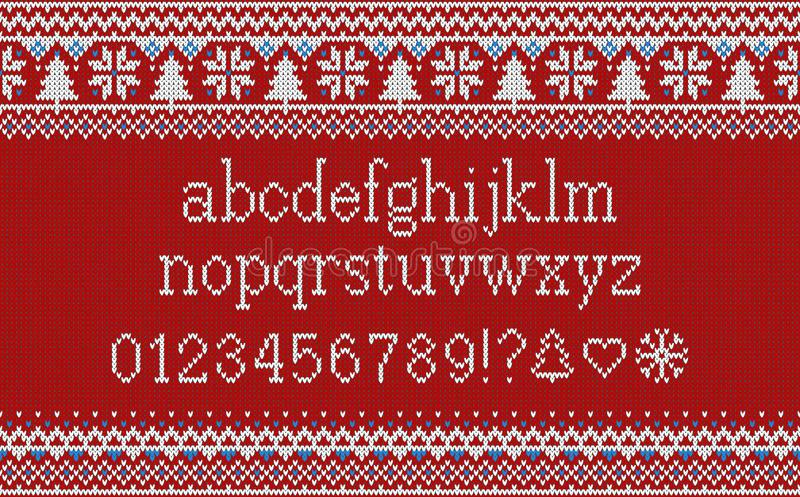 Kerstmisdoopvont Gebreid Latijns alfabet op naadloos gebreid patroon met sneeuwvlokken en spar Het noordse eerlijke eiland breien royalty-vrije illustratie