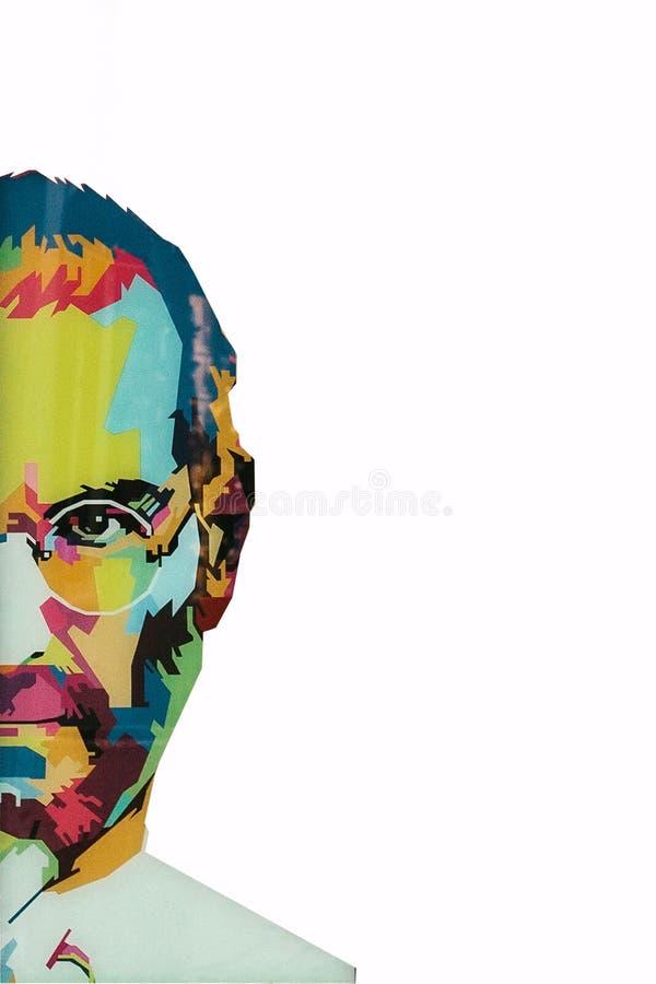 Kerstmiseiland, Australië, 8 Augustus, 2017: een illustratie in de kunststijl in de vorm van een mozaïek Steve Jobs - a royalty-vrije stock foto