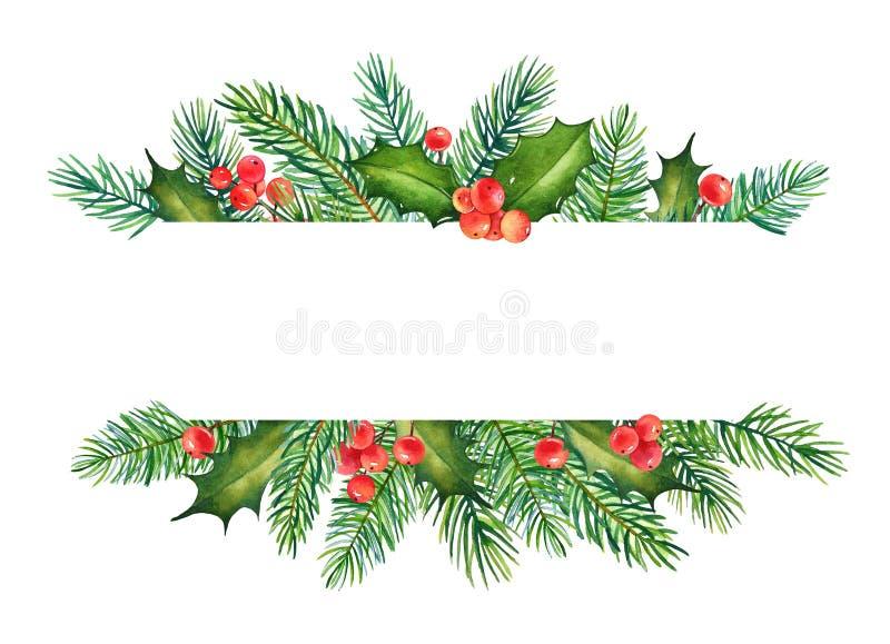 Kerstmiselement met waterverftakken van hulst en pijnboomboom stock illustratie