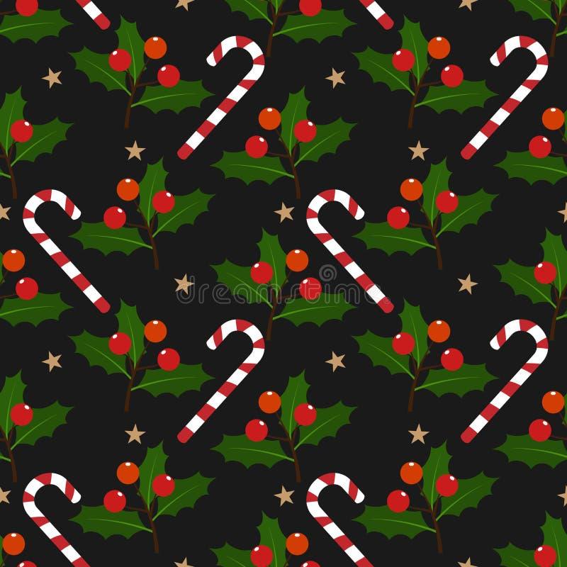 Kerstmiselementen met suikergoedriet, ster, Hulstbladeren en bessen overladen naadloos patroon op zwarte achtergrond stock illustratie