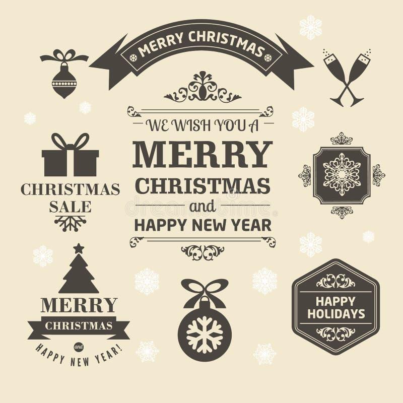 Kerstmisemblemen en medailles in een retro stijl voor Kerstmis royalty-vrije illustratie