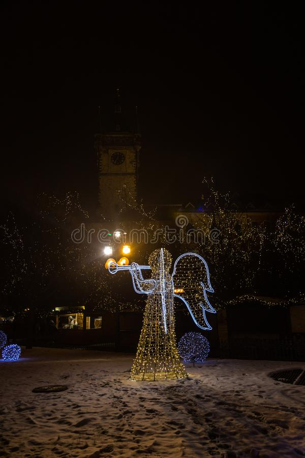 Kerstmisengel in de Vierkante, Tsjechische Republiek van Praag stock afbeelding