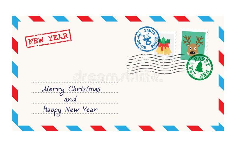 Kerstmisenvelop voor brief aan Santa Claus vector illustratie