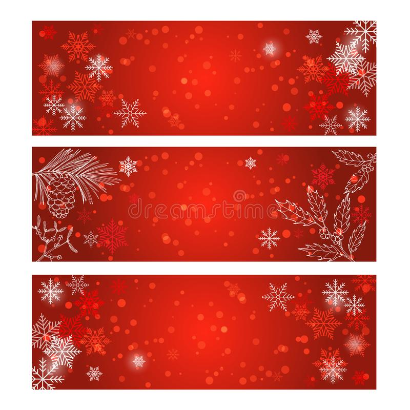 Kerstmisetiket op de winterachtergrond stock illustratie