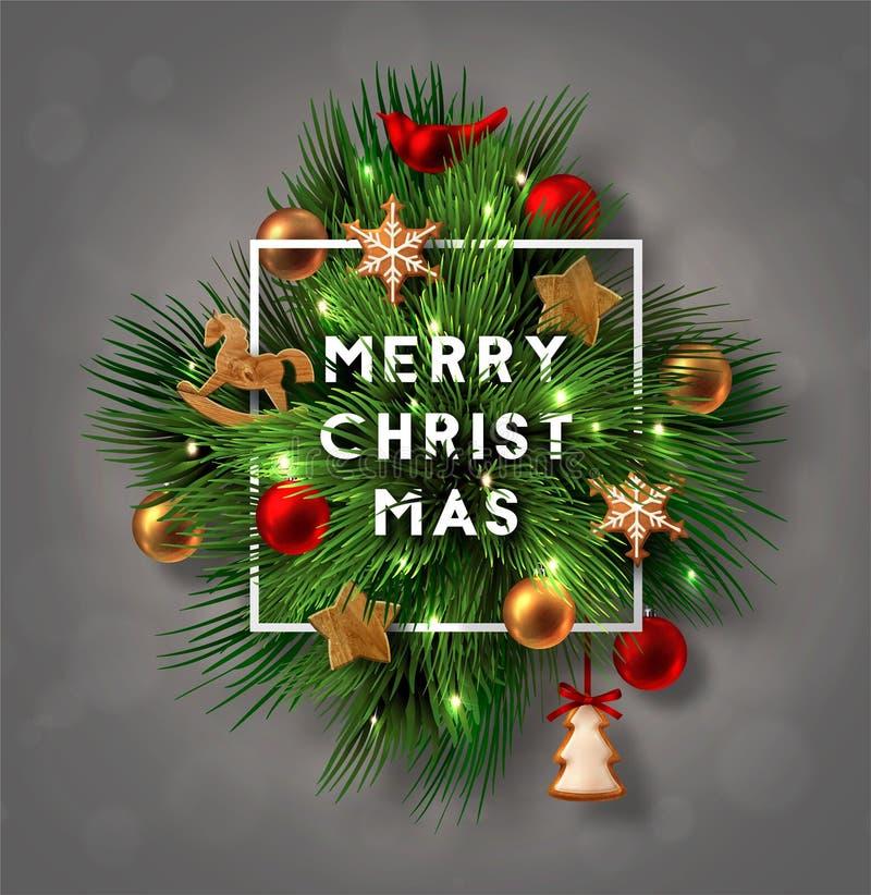 Kerstmisetiket van Pijnboomtakken die wordt gemaakt vector illustratie