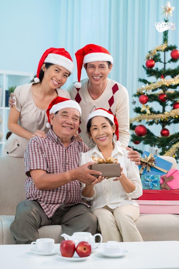 Kerstmisfamilie stock afbeeldingen