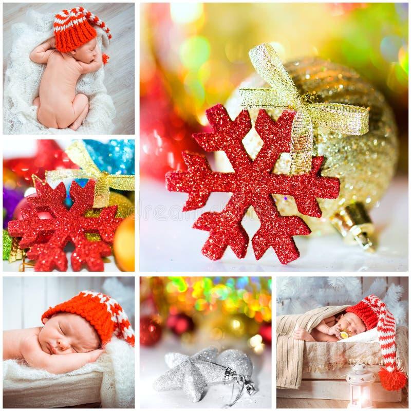 Kerstmisfoto met een pasgeboren baby stock afbeelding