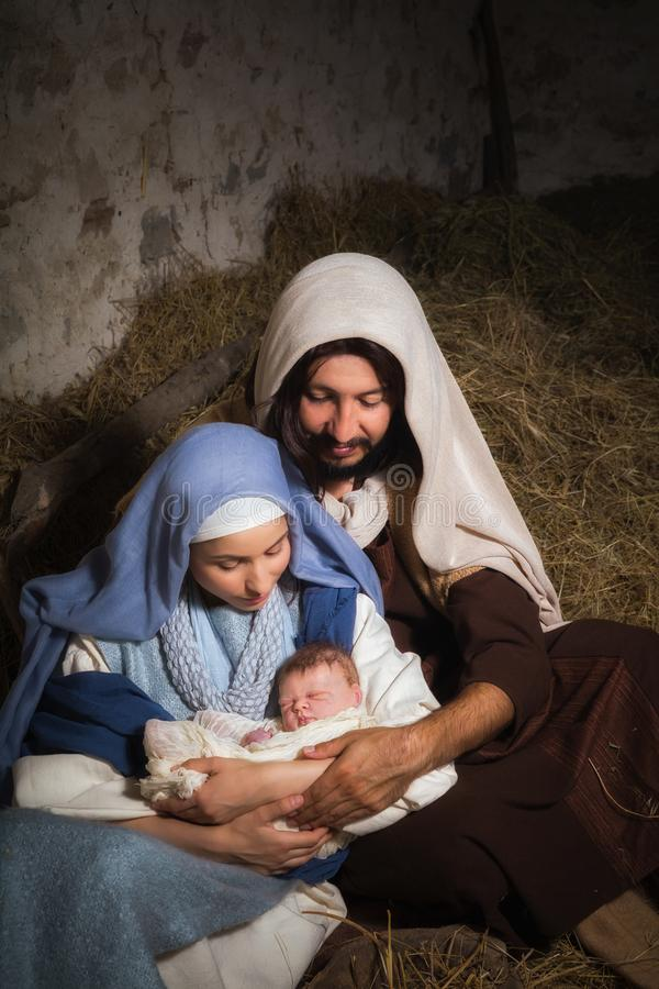 Kerstmisgeboorte van christus met baby Jesus royalty-vrije stock afbeeldingen