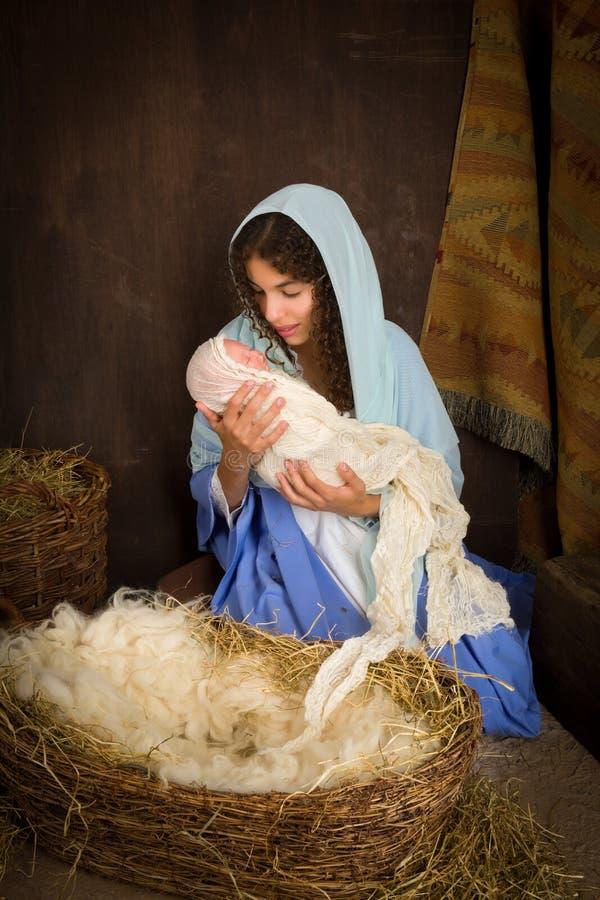 Kerstmisgeboorte van christus met Maagdelijke Mary stock afbeeldingen
