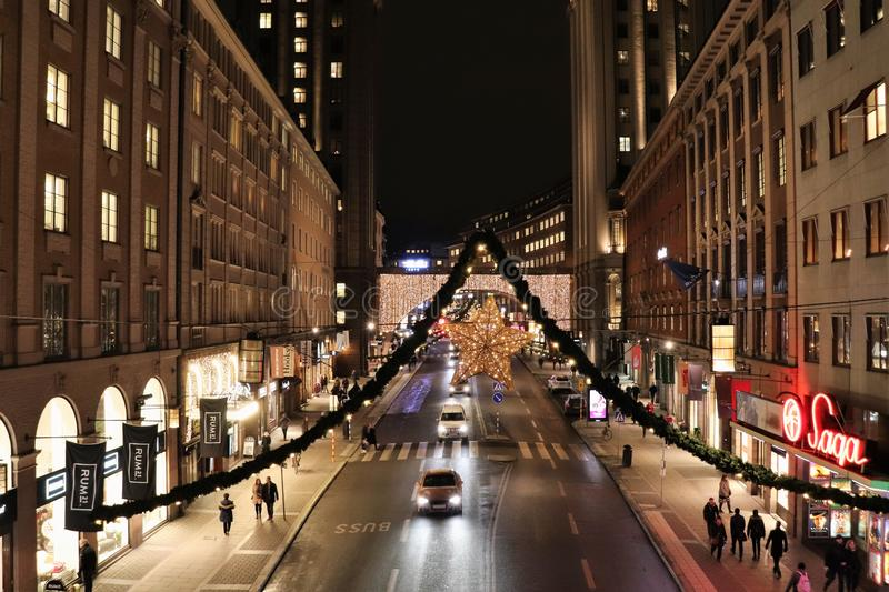 Kerstmisgeest op Kungsgatan in Stockholm stock fotografie