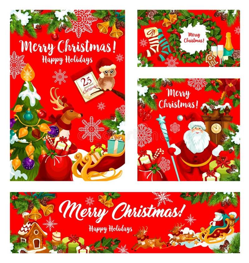Kerstmisgift en Santa New Year-vakantiebanner stock illustratie