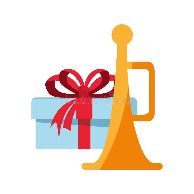 Kerstmisgift en trompetdecoratie vector illustratie