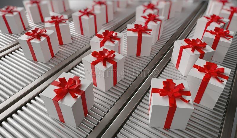 Kerstmisgiften het verschepen Vele giften op transportband 3D teruggegeven illustratie royalty-vrije illustratie