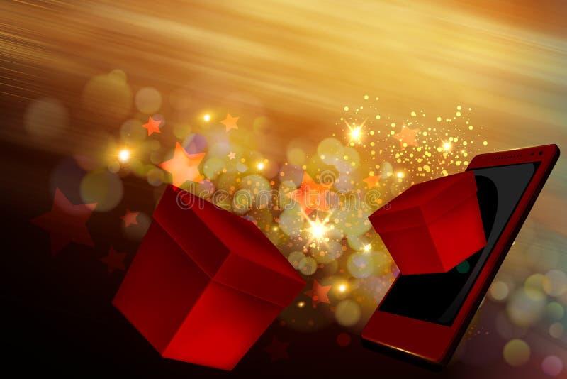 Kerstmisgiften op mobiel royalty-vrije stock afbeeldingen