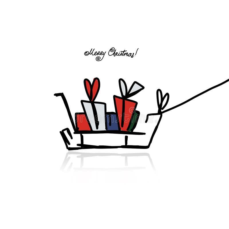 Kerstmisgiften in slee, schets voor uw ontwerp royalty-vrije illustratie