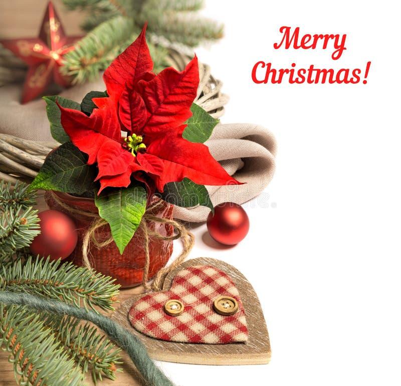 Kerstmisgrens met poinsettia en de winterdecoratie, tekst SP stock foto